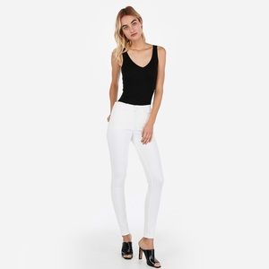 Express high waisted white skinny jeans (8)